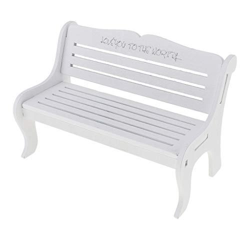 F Fityle Miniatur Sitzbank Parkbank Holzbank Holzmöbel für 1/6 BJD, Xinyi Puppe Haus Garten Dekoration - Weiß, #2