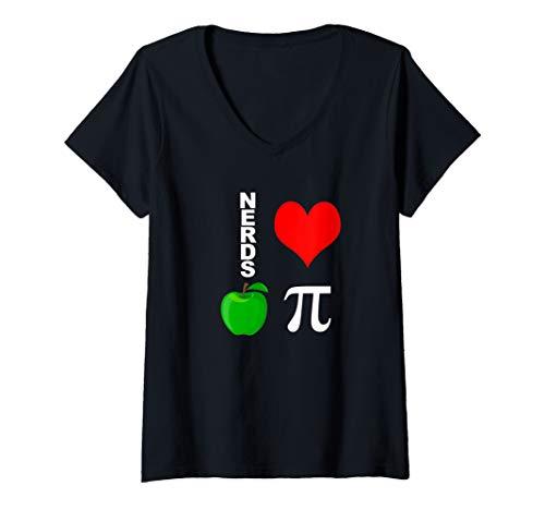 Womens Nerds Love Apple Pi Funny Math Pun Pi Teacher V-Neck T-Shirt