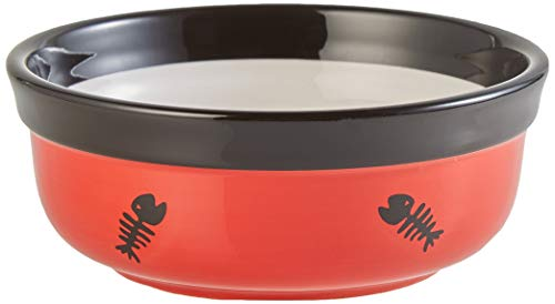 Trixie 24790 Napf-Set Eat on Feet, Keramik, 2 x 0.25 l/12.5 cm, rot/schwarz/creme - 3