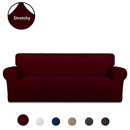 PureFit Super Stretch Chair Sofa Slipcover – Spandex Non Slip Soft Couch Sofa Cover, Washable Furniture Protector with Non Skid Foam and Elastic Bottom for Kids, Pets (Sofa, Wine)