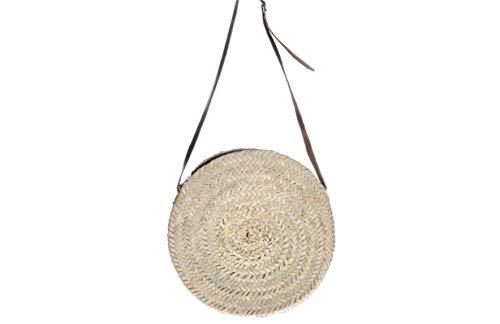 Afrikan Bags - Bolso Capazo de Palma | Bolso de Palma Redondo con Cremallera y Correa Ajustable - 36 x 3 x 90 cm