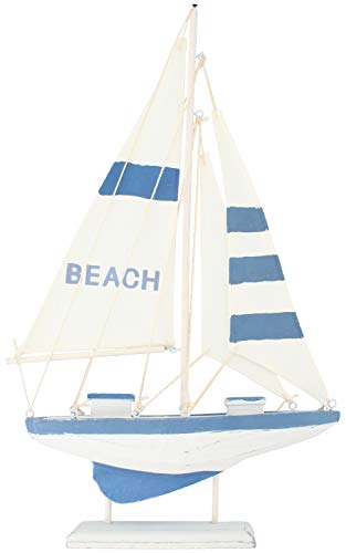 com-four® Maritimes Deko Segelschiff Beach - Boot aus Holz im Used-Look - Holzschiff zur Dekoration - Nautische Deko Segelboot (01 Stück - Holzsegelschiff 41.5cm)