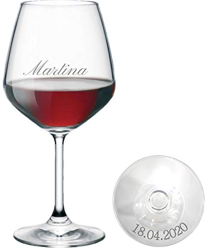 Bicchiere Vino Personalizzato - Calice Vino Rosso Inciso - Personalizzabile con Nome, Data e Caratteri Diversi (1 Pezzo)