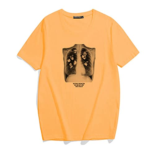 ZXCB Hip Hop Art Sternum Butterfly Picture Vintage Camiseta Femenina Punk Streetwear...