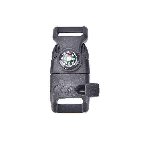 Leeafly Schnalle mit Pfeifenkompass Flint Fire Starter Scaper für Paracord Armband Survival Camping Travel Kit Outdoor Survival Armband aus Feuerstein, Messer Kompass Thermometer Multitool (schwarz)