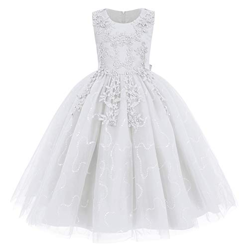 Flower Girl Lace Dress for Kids Wedding Bridesmaid Pageant Party Formal Long Maxi Gown Big Little Princess First Communion Birthday Dance Prom Beaded Sequins Puffy Tulle Dresses White 4-5 Years