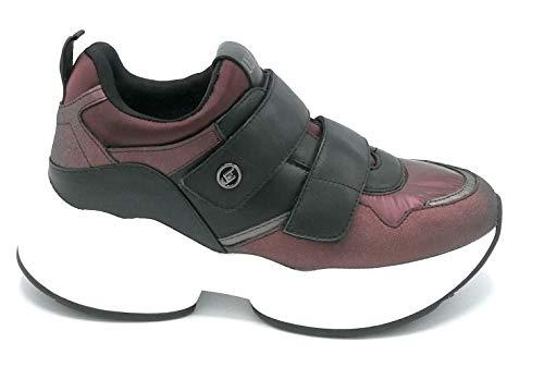 Liu Jo 69043 Sneaker Strap-on Nylon Satin Bordeaux Schwarz - Schuhgröße 38 Farbe Bordeaux-Schwarz