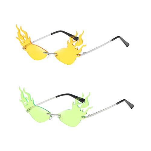 NON 2pcs Mujeres Gafas de Sol Fire Flame UV400 Gafas de Sol Sin Marco Verano Moderno