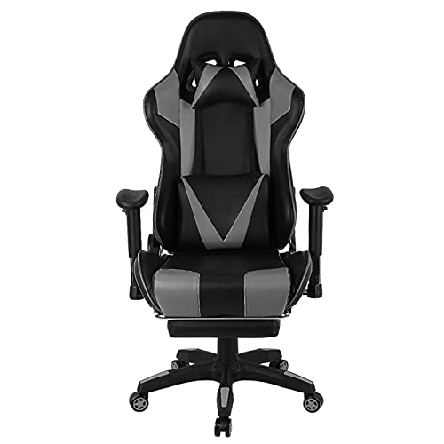 JIU SI Swivel Gaming Chair With Footrest Lift Up Game Chair Ergonomic Computer Chair Internet Home Office Furniture HWC (Color : Gray)