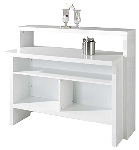 Hausbar Bar Minibar Bartisch Bartresen Empfangstheke   Dekor   Weiß Hochglanz   BxHxT 130x110x50 cm