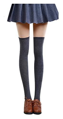 JJZXPJ Kniestrümpfe 80 cm Winter extra Lange Baumwolloberköze Hohe Socken,über dem Knie Hohe Bein Wamers for Frauen Beinwärmer Socke (Farbe : Darkgrey)