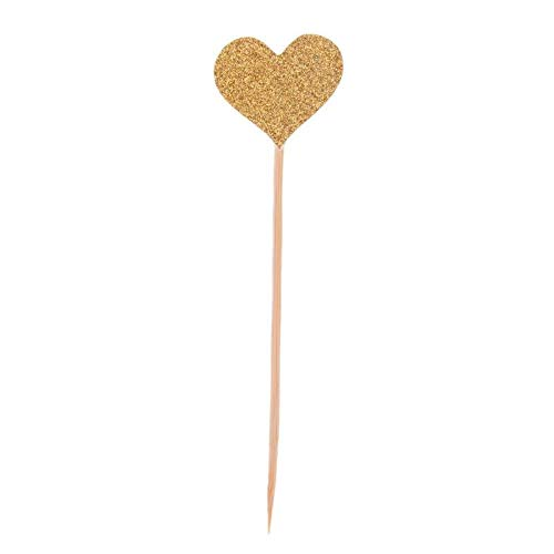 160pcs/Set Colored Bling Heart Shape Insert Cards with Toothpick for Wedding Birthday Party Cute Lovely Gifts Cake Decorations Gold