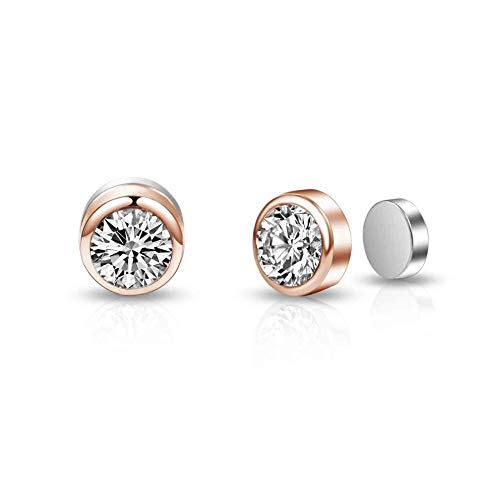 Rose Gold Magnetic Clip On Earrings Created with Austrian Crystals