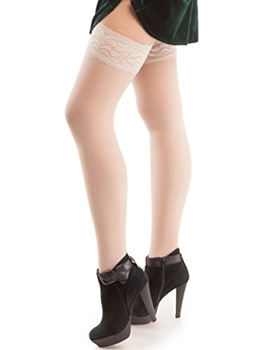 GABRIALLA Maternity Compression Stockings. Sheer Graduated Compression Thigh High Stockings. Made in USA. Treatment for Swelling, Varicose Veins and Edema (23-30 mmHg) H-80: Medium   Nude