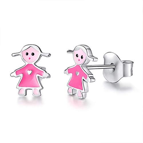925 Pendientes de Plata esterlina Joyas para niños Esmalte Rojo Dama Pendientes espirales pequeños para niños Niña bebé TINGG (Color : 10)