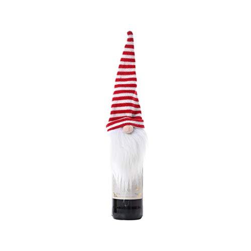 Gnomo sueco de Navidad muñeca de vino tinto y champán cubierta de botella de copo de nieve Festival Decoración Regalos Navidad Envoltura Ornamento