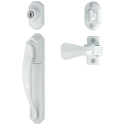 Ideal Security LSDXCR2267WH DX Pull Handle Set for Storm and Screen Doors with Keyed Deadbolt, White