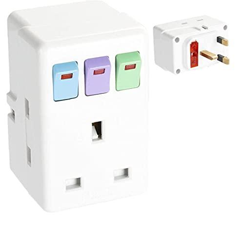 Interruptores De Circuito De Reino Unido Adaptador De Enchufe De Una De Cada Tres Enchufes De Extensión Con Interruptores De Circuito Protegido