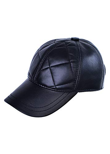 Mumcu's Leder Schwarz Klassisch Zeitlos Baseball Echtes Schaffell Verstellbar Schiedsrichter Cap Snapback Hat Diamond Design - Schwarz - Einheitsgröße
