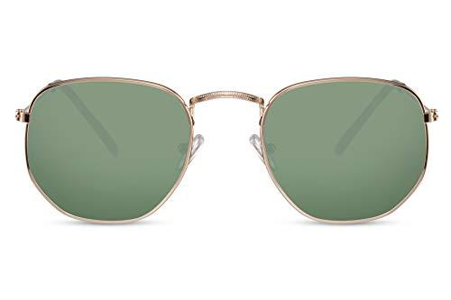 Cheapass Occhiali da Sole Hexagon Occhiali con una Montatura Oro e Lenti Verdi da Uomo e Donna UV400 Protetti