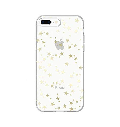 Wingcases for iPhone 7 Plus/8 Plus Cases, Gold Gloss Stylish Stars with Mirro Reflection Crystal Clear Ultra Thin Slim Phone Cover