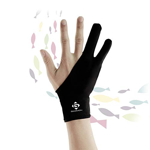 GAOMON Two Finger Glove for Ipad Drawing, Tablet Drawing, Oil Painting and Sketch Creation, Free Size Support Left and Right Hand
