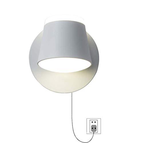 Jsyuany Wandleuchte mit Kabel und Stecker, Nachttischleuchte Wandlampe mit Berührungsschalter, Drehbar 350° Wandlichte LED Leseleuchte Warmweiß 9W Dimmbare Wandbefestigung Leselampe Nachttischlampe