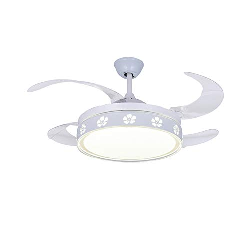 TGRBOP Moderna lámpara de ventilador blanco Lámpara de techo de tiempo regulable con luces para la velocidad de ventilador de techo reversible de la velocidad regulable del dormitorio con el control r