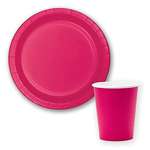 Vajilla biodegradable de Cumpleaños. Set de Platos y Vasos para Fiestas, Reuniones, Camping, Picnic. Juego de Platos y Vasos para Cumpleaños. Decoración Cumpleaños. Vajillas Ecológicas. (Fucsia)