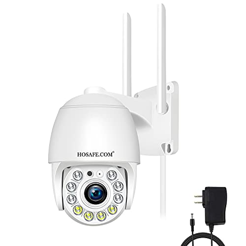 Security Camera Outdoor Wireless WiFi, Floodlight Camera HOSAFE Video Surveillance Cameras for Home Security System, PTZ, 2-Way Audio, Motion Detection, 1080P Night Vision, Waterproof, SD Card Slot