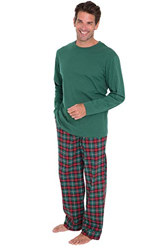 PajamaGram Mens Christmas Pajamas Flannel - Plaid, Solid T-Shirt, Red/Green, XL