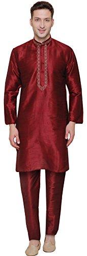 Men s Art Silk Indian Wedding Party Clothes Kurta Pajama Set (Maroon  M)