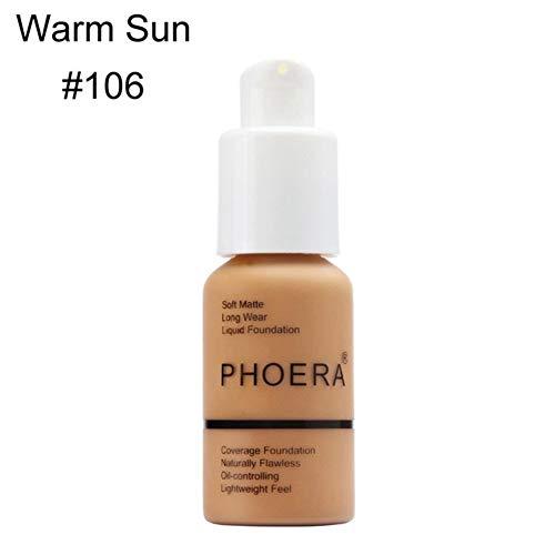 Lai-LYQღ Fond de Teint Liquide Imperméable Mat Couverture Complète Maquillage Correcteur Huile Correcteur, Plastique, 106-warm Sun
