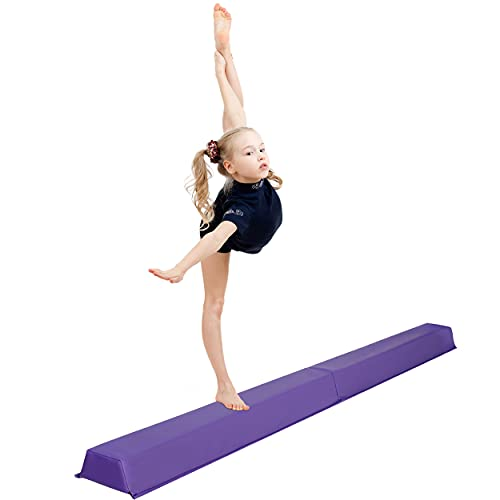 Oteymart Balance Beam Folding Gymnastics Beam Extra Firm Foam Anti-Slip Bottom Equipment for Floor Home Training, Kids, Adults (6)