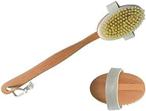 MSV Massageborstel rugborstel, badborstel van hout met lange steel lichaamscrub – borstel is afneembaar.