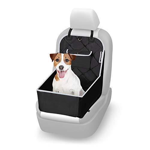 BESTPAWS® Hunde Autositz – Autositz Hund mit Antirutsch-Oberfläche – Leichte Anbringung – Verstärkte Seitenwände – Tasche für Leckerlies, Leine, usw. – Metallring zur Befestigung (Schwarz)