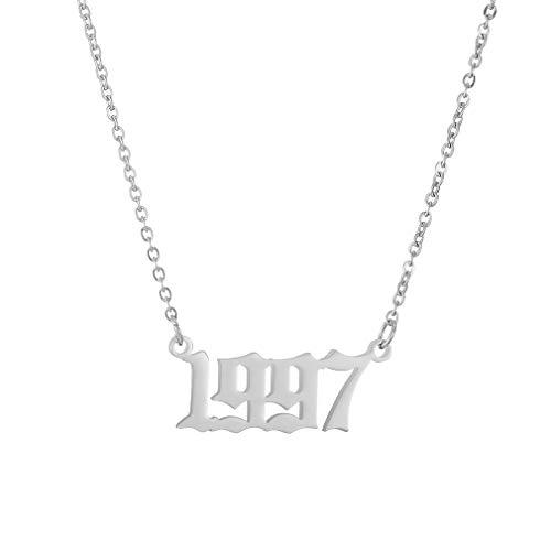 AFSTALR Collar Plata Nombre Personalizado Cumpleaños Mujer Año Número Colgante Pareja Aniversario Regalo de San Valentin Original de Joyería