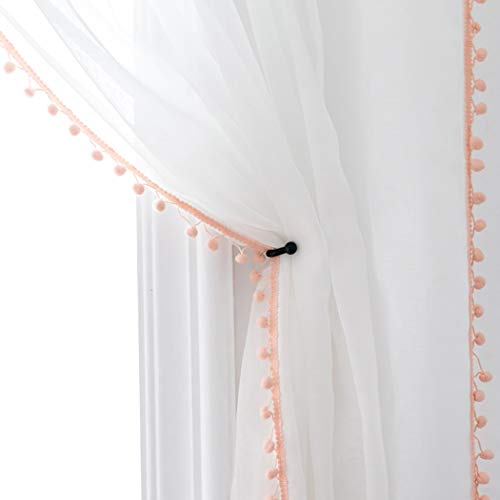 Selectex Linen Look Pom Pom Tasseled Sheer Curtains - Rod Pocket Voile Semi-Sheer Curtains for Living and Bedroom, Set of 2 Curtain Panels (52 x 84 inch, White Sheer & Blush Pom Poms)