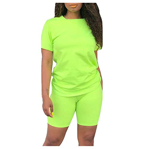 Why Choose Women's Casual Summer 2 Piece Outfit Pure Colour Short Sleeve T-Shirts Bodycon Skinny P...