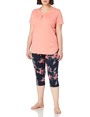 Schiesser Damen Schlafanzug Set 3/4 lange Capri Hose mit passendem kurzen Shirt, Nachtblau, 48