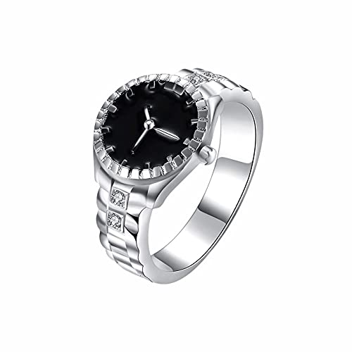 Tnookyon Kreativer Geschenk Uhrenring Kupfer Intarsierter Zirkon Versilberter Ring Minimalistischer Ring-Klassischer- Ring-Uhrenring Ring aus - Sterlingsilber- Paar Ringe- Liebesring (Silber, 9)