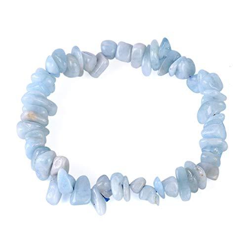 ZAOPP Pulseras de Piedra de Cristal Natural Pulsera de Grava Cuarzo Azul Cuarzo Irregular Cuentas de Chips Reiki Strand Bangle para Mujeres Accesorios
