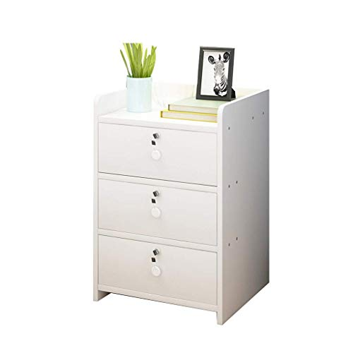 Big Shark Bedside Table 3 Drawers Drawer with Convenience Lock File Cabinet Furniture Bedroom Bed Side Table Rounded Corner Design It is Also A Nightstand Table (Color : C)