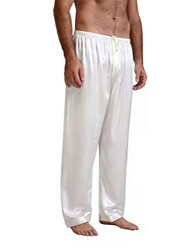 Pijama Hombre Pantalones Largo con Cordón Ajustable satén de Seda Suave Ropa para Dormir Regalo para el día de Padre, San valentín. (Blanco,L)