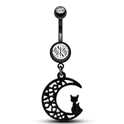 SALAN 10 Pezzi/Pacco Anelli per Ombelico Acciaio Chirurgico Black Moon Cat Ciondola Anelli per Ombelico Gioielli Piercing per Le Donne