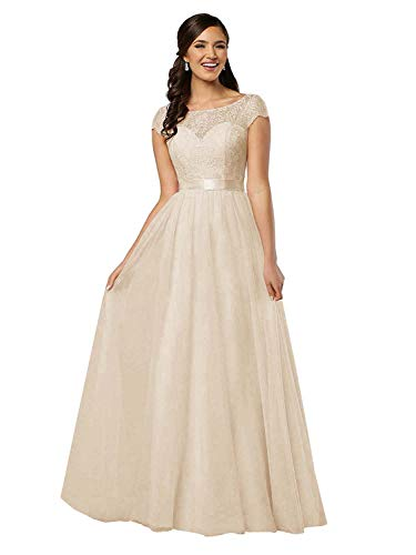 Lamosi Lace Bodice Long Bridesmaid Dress Cap Sleeve Chiffon Evening Dress A Line Prom Gowns Champagne Size 4