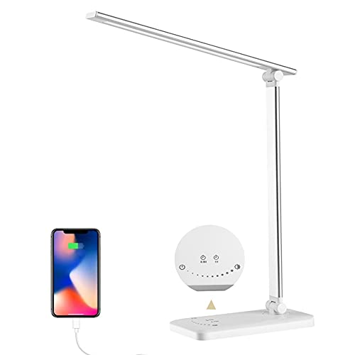 Lámpara Escritorio LED, Flexo de Escritorio para estudiar,La luz natural protege los ojos regulable con puerto de carga USB,5 Modos, 10 Niveles de Brillo Temporizador de 30/60min Función de Memoria