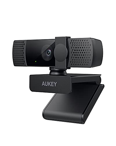 2021 AUKEY FHD 1080P Webcam with Dual Microphone & Privacy Cover, Noise Reduction Web Camera, USB Webcam for PC Desktop Laptop Mac, Zoom Skype Youtube