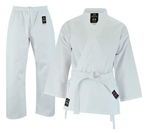 Malino Studente Leggero Karate-Gi Tuta Bianco Uniforme per Bambini PC-6oz Cintura Libera, Taglia 100