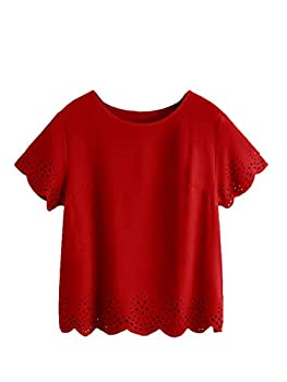 SheIn Women s Casual Round Neck Summer Short Sleeve Scallop T-Shirt Top Blouse Bright Red Medium